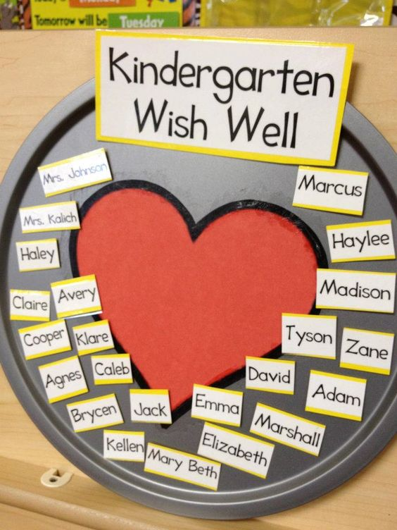 Everyday with the Jays: [teach] Kindergarten Classroom Photo Tour--wish absent students well by placing their name in the heart