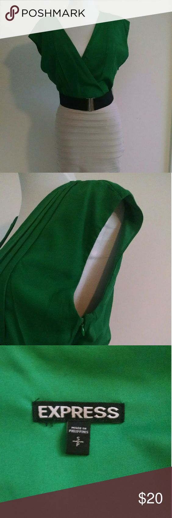 Express belted bandage dress Size small green and grey/cream belted dress.  Worn once Express Dresses Midi