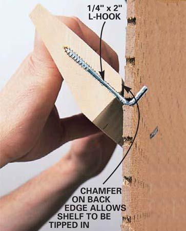 Chamfer the shelves for peg board