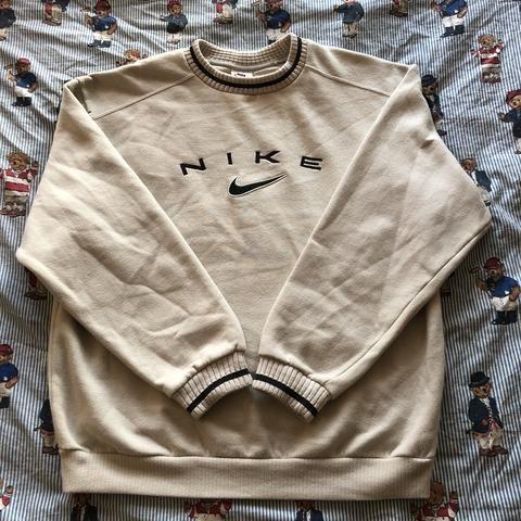 Vintage Beige Nike Sweatshirt M In 2020 Vintage Nike Sweatshirt Vintage Hoodies Mens Sweatshirts