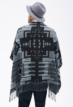 FOREVER 21-Fringed Southwestern-Patterned Poncho. $24.80  http://www.forever21.com/Product/Product.aspx?BR=21men&Category=mens-sweaters&ProductID=2000119286&VariantID=