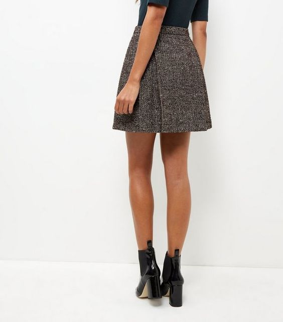 Black Flecked Pleated Mini Skirt