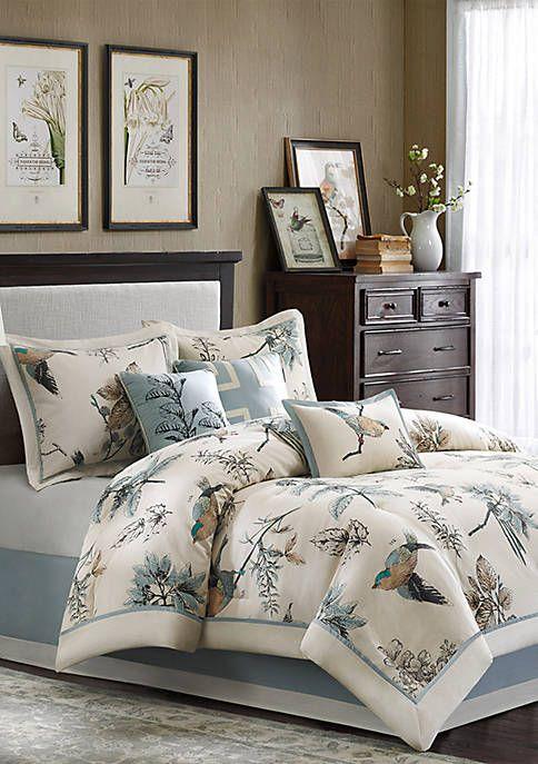 Queen Khaki Madison Park Textiles Quincy 7 Piece Comforter Set Comforters Sets Home Ekbotefurniture Com