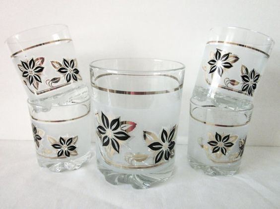 Glass Ice Bucket and 4 Rocks Glasses, Made in Italy, Vintage, Mid Century Barware