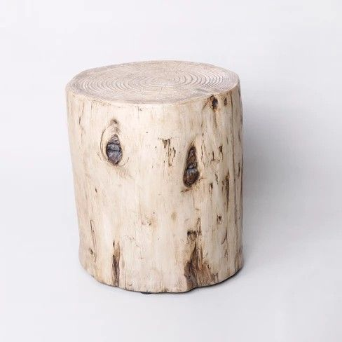 Faux Wood Stump Indoor Outdoor Accent Table Brown Project 62