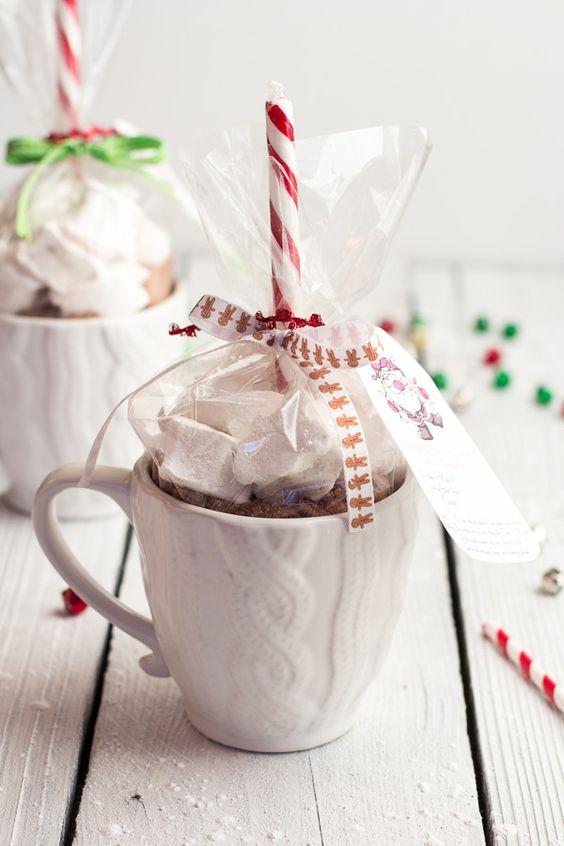 Homemade Holiday Gifts- Easy Double Chocolate Vanilla Bean Hot Cocoa Mugs + Marshmallows - from @Half Baked Harvest