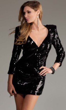 Sexy Sequin long sleeve v-neck mini dress for only $44!