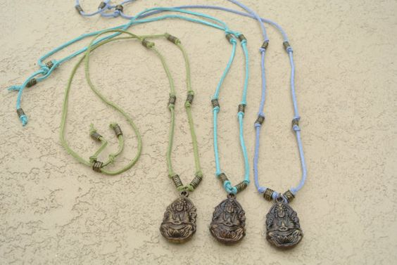 Long Bohemian Inspired Buddha Necklaces in Summer Colors
