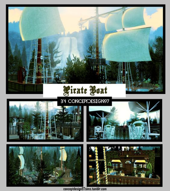 Sims 4 CC's - The Best: Pirate Boat Community Lot by ConceptDesign97Sims
