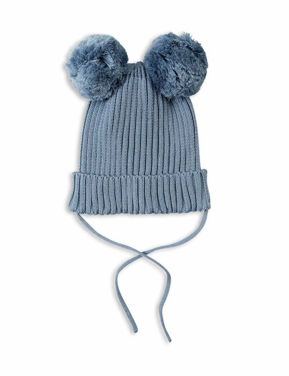 Mini Rodini rib-knitted and warm fold-up hat in light blue with two pom-poms for ears. Made of organic cotton.
