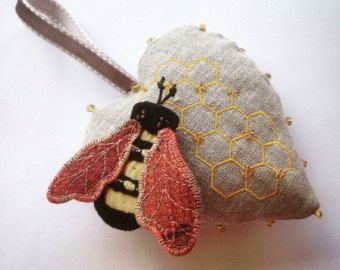 Embroidered linen heart with gorgeous honey bee brooch.