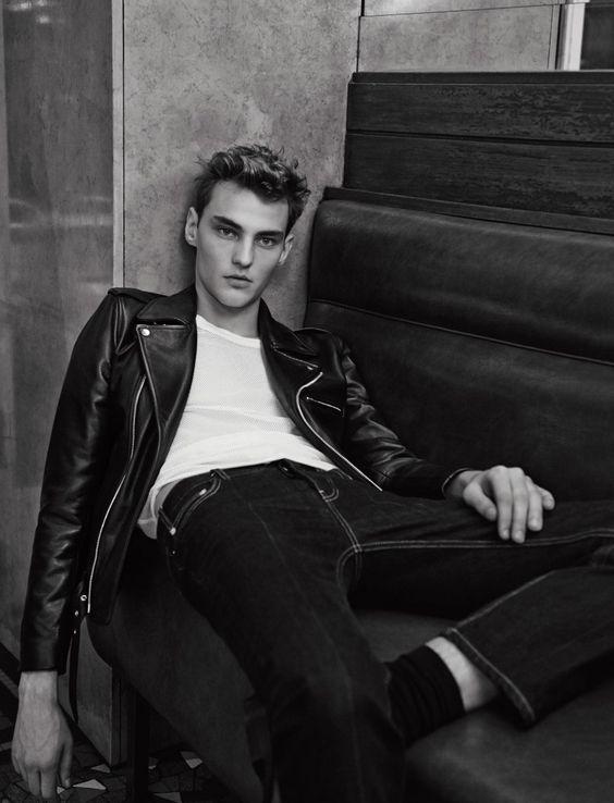 Leatherboy du jour/of the day :Max Esken (mannequin/model)Sandro spring/summer 2015 - 01/2015