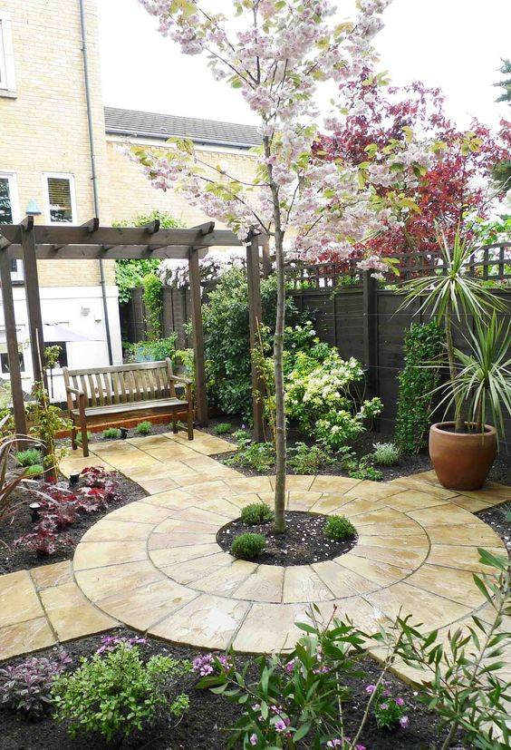 beautiful courtyard garden with swing love the circular stone pattern with tree in middle jardines pinterest swings middle and gardens - Garden Design Circles