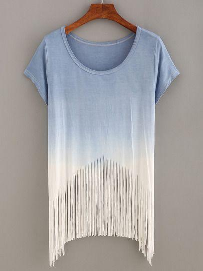 Blue Ombre Fringe T-shirt