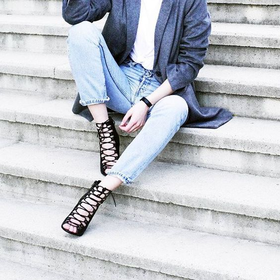 Dress up your casual with a pair of laced up heels #AsSeenOnMe