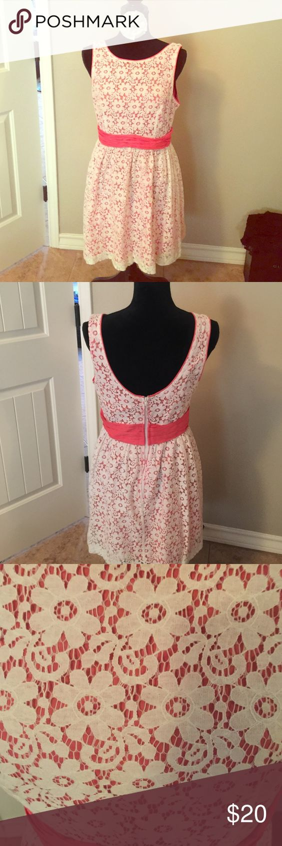 Coral Crochet Dress Beautiful croquet dress in coral- Large (fits like a 6/8) Forever 21 Dresses Mini