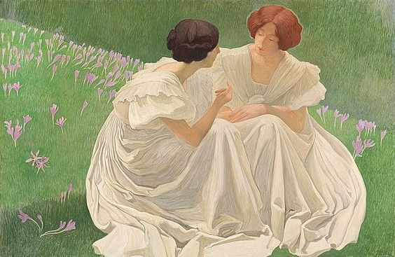 https://flic.kr/p/sqL9Ju | Ernest Bieler - Two Young Ladies in the Crocus Field