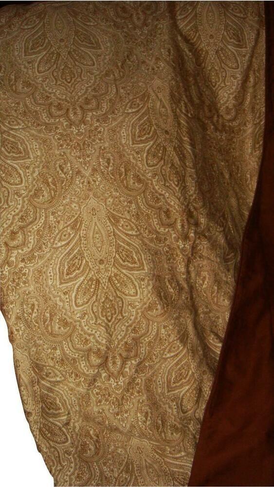 Raymond Waites Luxe Mink Full Queen Paisley Duvet Cover Brown Tan