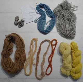 Wool - Tribulations of Hand Spinning and Herbal Dyeing: Overdyeing with Woad on Weld, Coreopsis, Apple Leaf and Bracken Plant Dyed Wool
