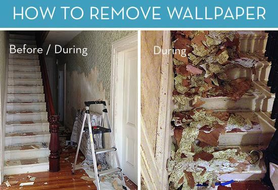 Before And After How To Remove Wallpaper Curbly Diy Design Community Removewallpaperhow Removable Wallpaper Home Improvement Diy Design