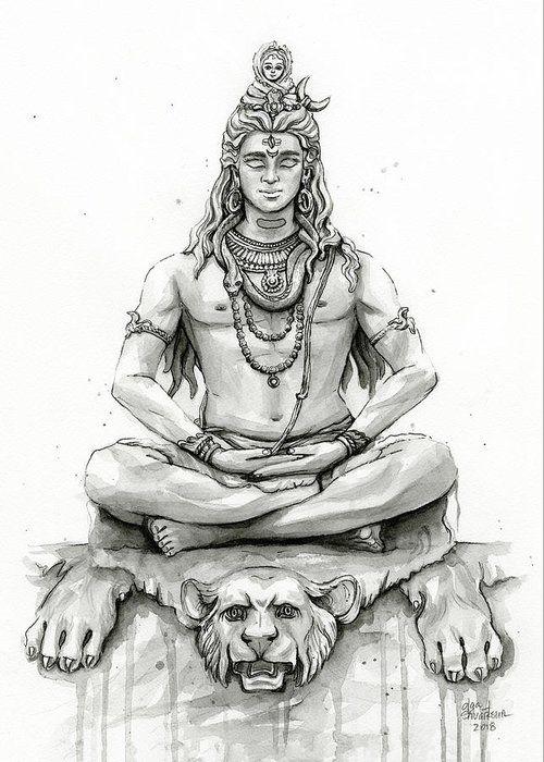 Shiva Portrait Greeting Card For Sale By Olga Shvartsur Shiva Art Lord Shiva Painting Shiva Tattoo Design