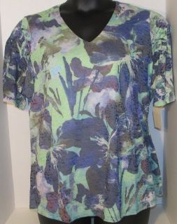"""NEW Green Purple and White Top -Size 2x  (20-22 by Coldwater Creek -""""Illusion Paradise"""" -Polyester and cotton blend/Lining-Cotton -Width 25""""/Length 27"""" -Retailed for $59.95"""