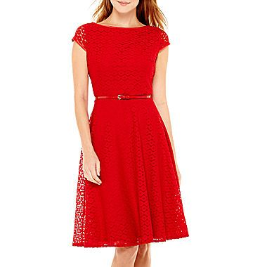 jcp | Black Label by Evan-Picone Cap-Sleeve Lace Fit-and-Flare Dress