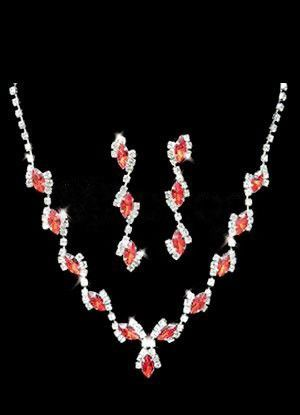 Pretty Red Silver Alloy Rhinestone Earrings Necklace Wedding Bridal Jewelry Set - Wedding Jewelry - Accessories