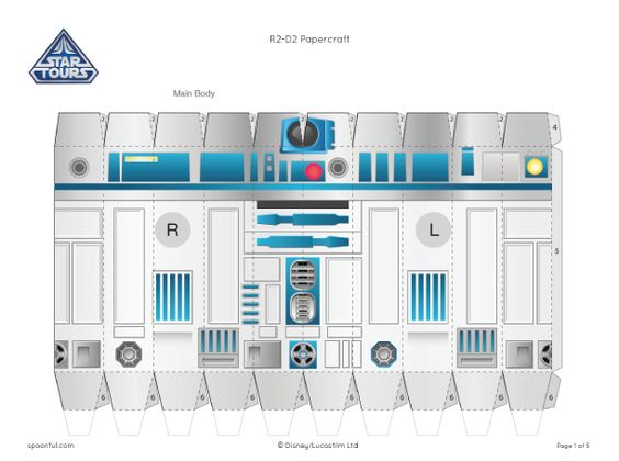 R2D2 paper toy. Paper crafts. Star Wars R2D2. Click on the main body template at the bottom of the page and it will go to the rest of the template and assembly instructions.