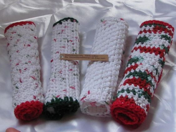 The four dishcloths are 100 cotton measure by HomeMadeWoman, $11.00