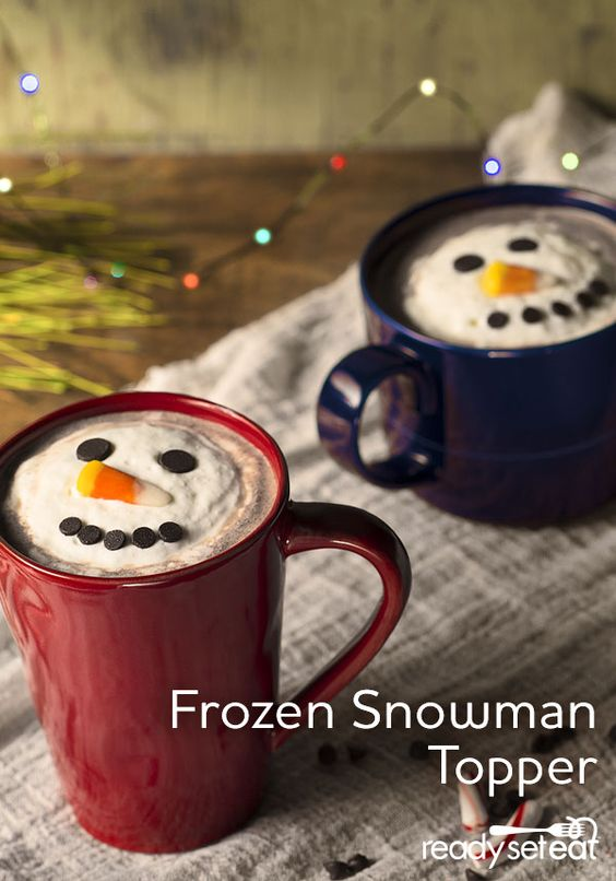 Top your warm drink (coffee or hot cocoa) with a frozen snowman! The perfect drink for the chilly months!