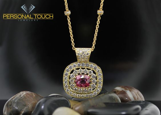 Yellow Gold Pendant with pink sapphire and diamonds