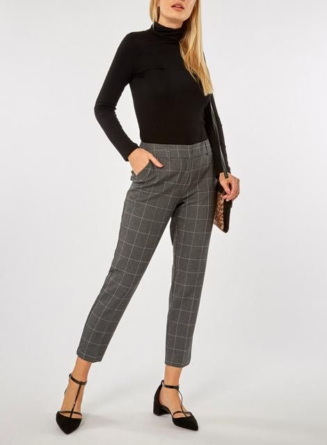 Womens Grey Grid Check Ankle Grazer Tailored Fit Trousers- Grey