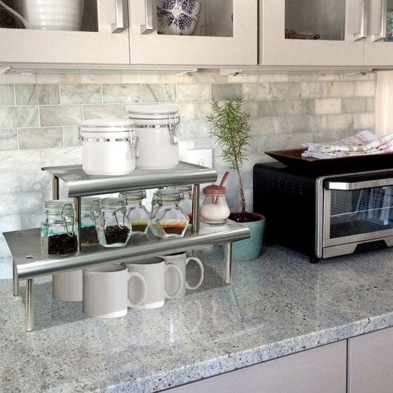 Marimac 2-Tier Kitchen Counter Shelf In Satin Silver