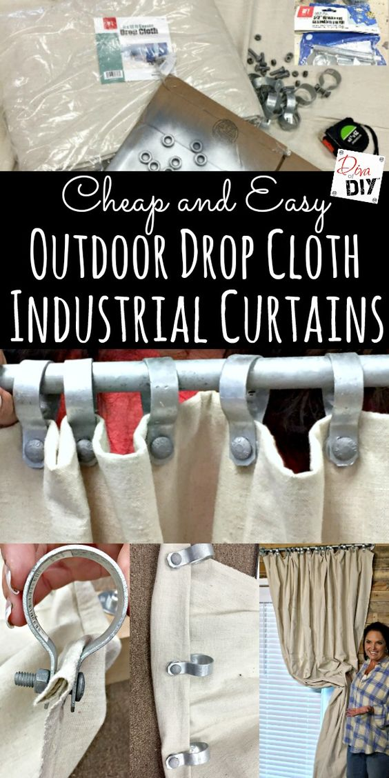 Outdoor DIY Curtains are all the rage! These cheap and easy no sew drop cloth curtains with an industrial look make…