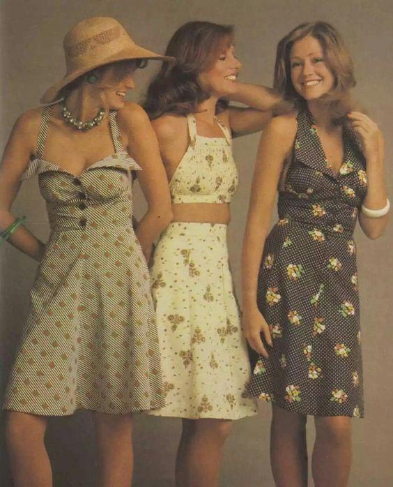 Verano vestidos estilo años 70, 1975