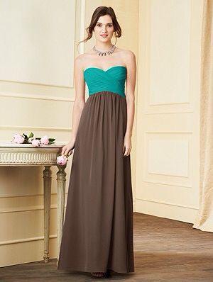 7289L in Jade & Chocolate - Alfred Angelo Bridesmaid dress.