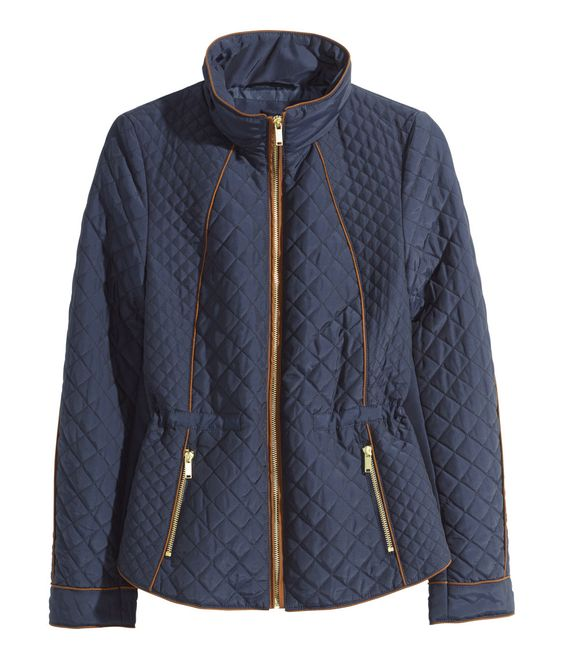 Navy blue quilted zip-up jacket with slight sheen and brown piping