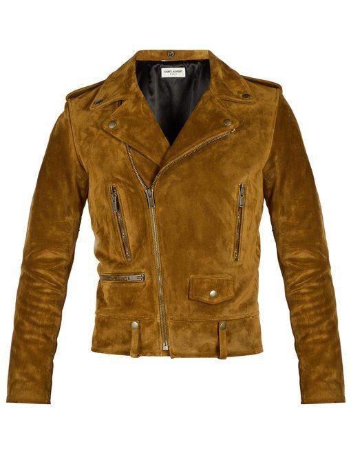 Saint Laurent Suede Biker Jacket In Brown Modesens Biker Jacket Leather Jacket Men Suede Biker