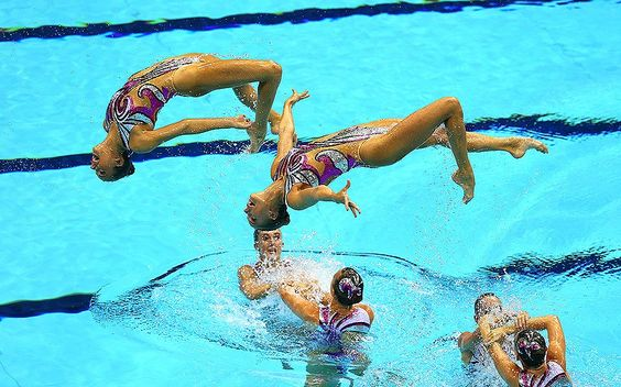 2012 London Olympics - Team GB competes in the women's teams synchronised swimming technical routine