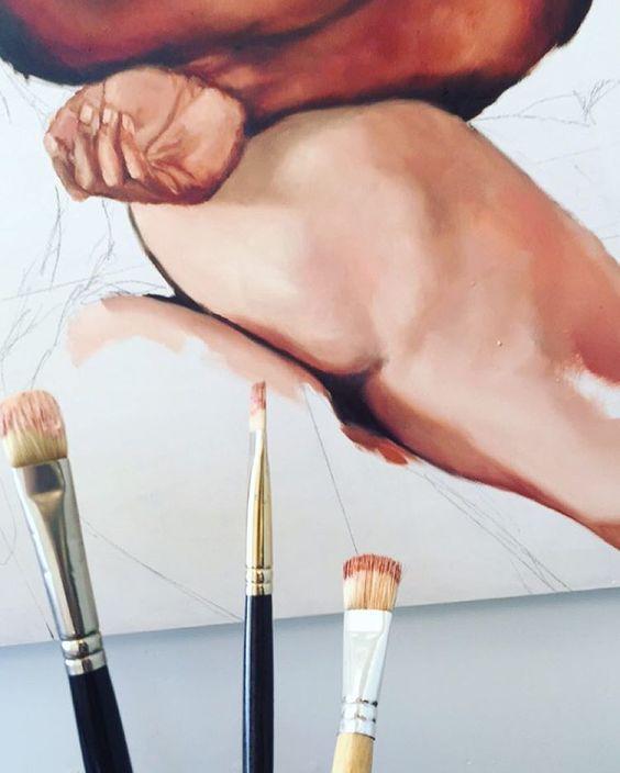 🍑 #wip #skintones #figurepainting #oilpainting #fineart