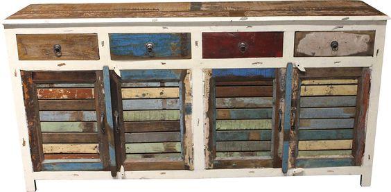Wohnmöbelprogramm »Shutter« mit einem Korpus aus FSC®-zertifizierter Akazie bzw. Mango. Die Fronten sind aus recyceltem Holz in harmonischen Farben mit Charakter. Jedes Möbelstück ist ein Unikat! Mit Metallgriffen.  Sideboard »Shutter« mit 4 Türen und 4 Schubkästen. Maße (B/T/H): 182/45/92 cm.   In folgenden Farben erhältlich:  Korpus/Front: creme/farbig,  Details:  4 Türen, 4 Holztüren, Fachin...