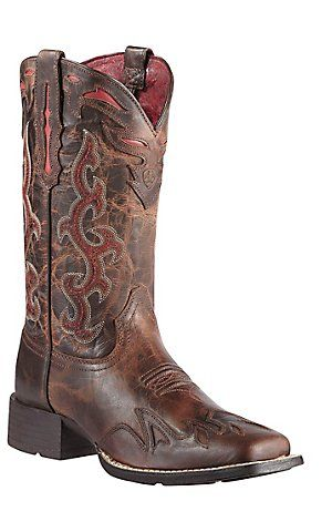 Ariat® Sidekick™ Women's Sassy Brown w/ Red Embroidery Square Toe Western Boot | Cavender's Boot City