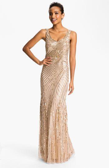 Gorgeous gold sequined sleeveless long dress -wedding -gold ...