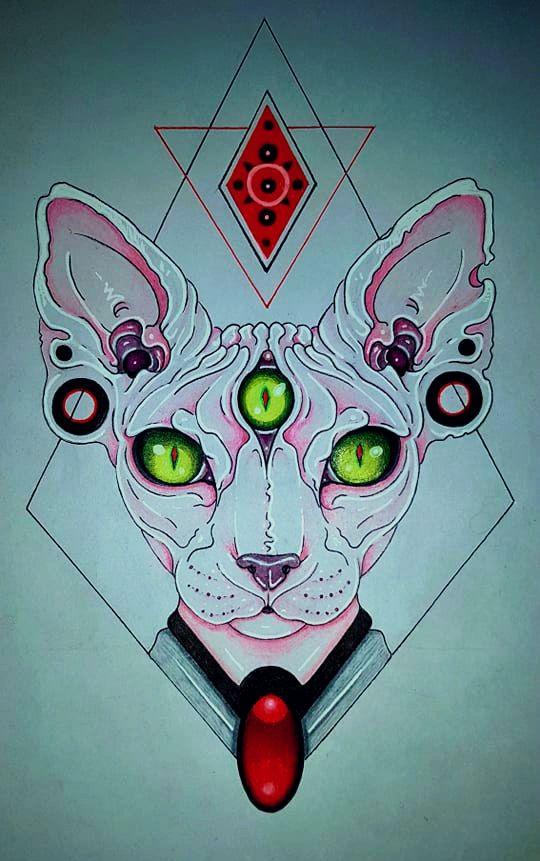 Sphynx Tattoo Design In 2020 Third Eye Art Cat Tattoo Sphynx Cat Tattoo