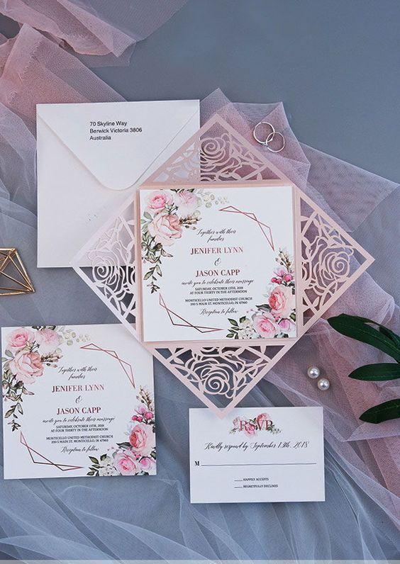 50+ geometric wedding invitations, blush laser cut wedding invitations, floral wedding invitations, boho weddings, spring weddings, elegant wedding invitations #geometricweddinginvitations