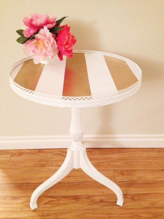 Home Decor Table Part - 46: Diy Juliasdiy, Diy Crafts, Upcycle White, Table Stripes, Stripes Vintage,  Gold Antique, That S Crafty, Decor Table, White Gold