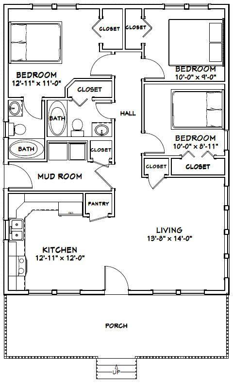 28x36 House 28x36h3 1 008 Sq Ft Excellent Floor Plans Cabin Floor Plans Small House Floor Plans Barn House Plans