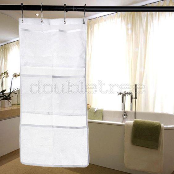 6 Pocket Bathroom Hanging Mesh Organizer Storage Bag Waterproof With 4 Hook