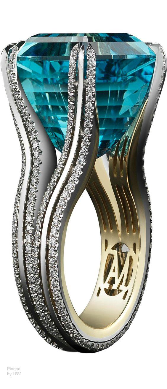 Alexandra Mor Asscher-Cut Intense Aquamarine & Diamond Ring - A very Elegant Ring
